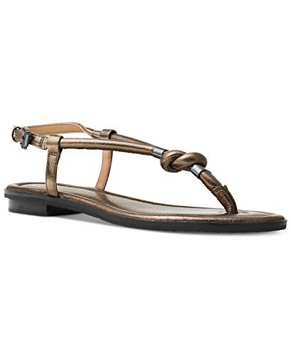 Thongs Kors Michael Leather (Michael Michael Kors Holly Gunmetal Silver Leather Thong Flat Sandals Size 5 M US)