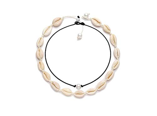 YONYou Cowrie Shell Choker Necklace for Women Hawaiian Seashell Pearls Choker Wakiki Hawaii Beach Gypsy Jewelry Statement Adjustable Cord Necklace Set