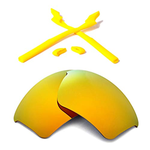 - Walleva Polarized Lenses and Rubber Kit for Oakley Half Jacket 2.0 XL Sunglasses - Multiple Options Available(24K Gold Mirror Coated Polarized Lenses + Yellow Rubber)