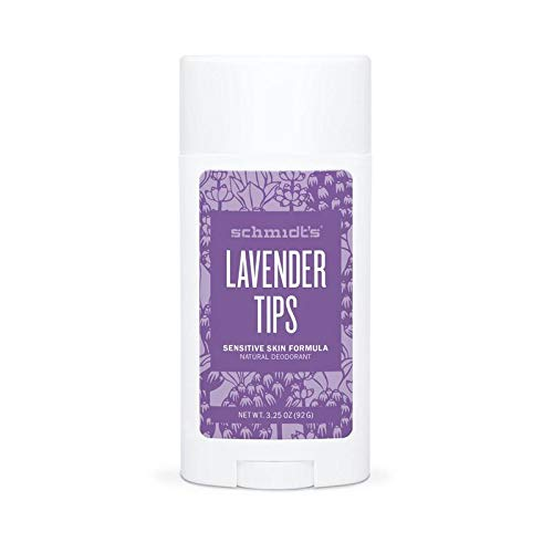 Schmidt's Natural Deodorant for Sensitive Skin - Lavender Tips, 3.25 ounces. Stick for Women and Men