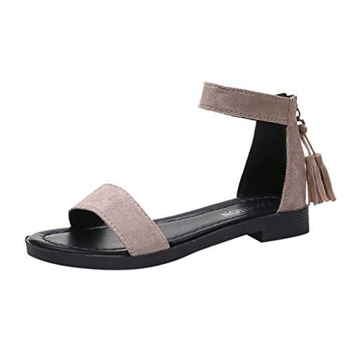 Missli Women's Casual Fringe Suede Open Toe Shoes Summer Zipper Flat Heels Sandals