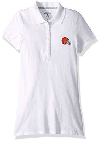 NFL Women's Cleveland Browns Spark Short Sleeve Polo (White, Small) ()