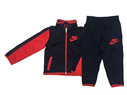 (Nike Boy's Futura Tricot Jacket and Pants Set (Obsidian(76C625-695)/Red, 2T))