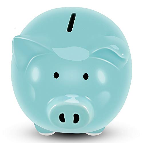 - Koicaxy Piggy Bank, Child to Cherish Ceramic Pig Money Piggy Banks for Boys Girls Kids Blue