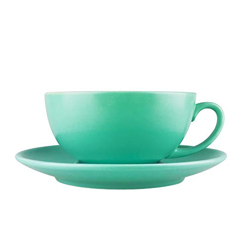 J-FAMILY Professional Porcelain Cappuccino Cup and Saucer set for Specialty Coffee Drink Like Cappuccino and Latte,Semi Matte Mint Green Coffee Cup,8 oz