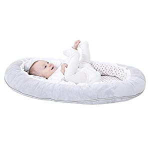 vocheer Baby Bassinet Bed, Baby Lounger Bed Portable Sleeping Crib Soft Breather Mattress with Lace for Newborn 0-8 Months, Grey