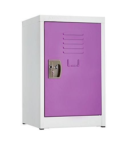 (AdirOffice Kids Steel Metal Storage Locker - for Home & School - with Key & Hanging Rods (24 Inch, Purple) )