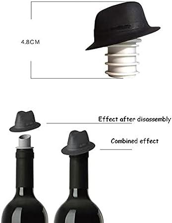 LHFD Sombrero de Vino de 2 Piezas con Sombrero de Vino Tapón Top Hat Dual-Use Silicone Wine Pourter Fancy Cocktail Spout