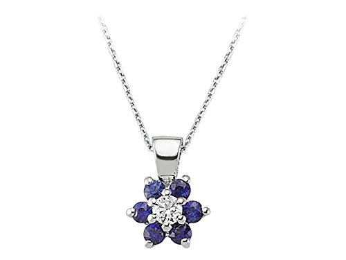 Pendentif Saphir et Diamants-Femme- or Blanc 217P0037