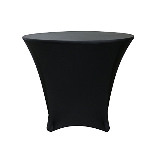 - Your Chair Covers - 36 x 30 inch Cocktail Round Stretch Spandex Table Cover - Black, Stretch Tablecloth