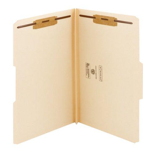 Colored Fastener Folders Reinforced Tab - Smead Fastener File Folder, 2 Fasteners, Reinforced 1/3-Cut Tab, 1-1/2