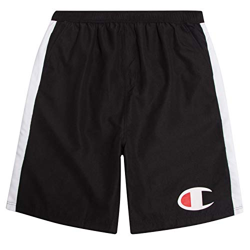 (Champion Mens Big and Tall Swim Trunks with Side Stripe and Oversized Logo Black 2X)