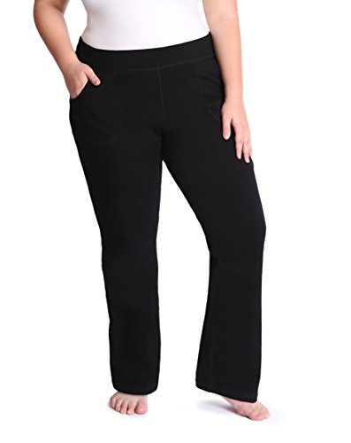 the buti-bag company Plus Size Yoga Pants with Front Pockets, Generously Oversized, Thick Cotton Jersey, 1X/2X (Size 18-20) ()