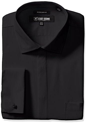 "Stacy Adams Men's 39000 Solid Dress Shirt, Black, 16.5"" N..."