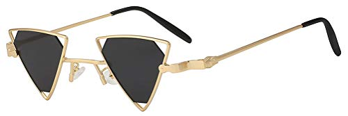(Triangle Butterfly Vintage Smoke Lens Sunglasses Gold Metal Frame Men Women)