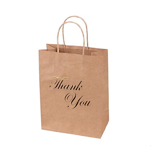 SKYSTARS 24 Pcs Kraft Paper Bags Bulk with Handles and Printed Gold Foil Thank You - 8