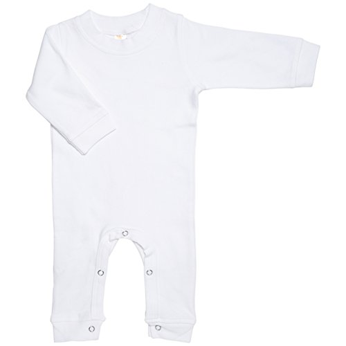 Laughing Giraffe Baby Long Sleeve Sleep Romper Sleep and Play (0-3m, White) (White Infant One Piece)
