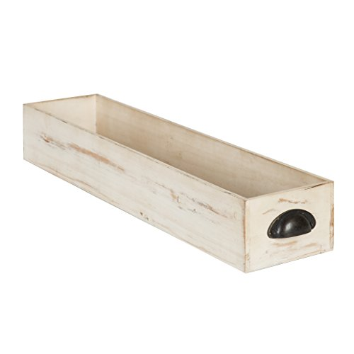 Tray Distressed White (Kate and Laurel Woodmont Distressed Wood Trough Tray, Antique White)