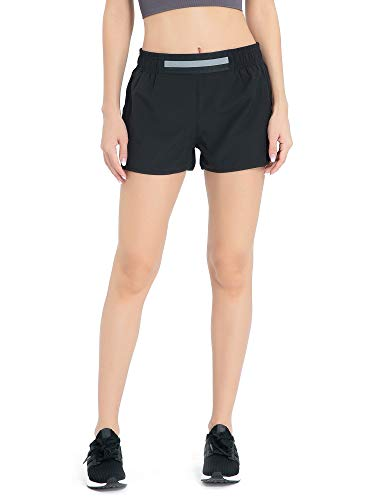 Meegsking Women's Workout Running Shorts Sport Fitness Athletic Shorts with Pocket Black
