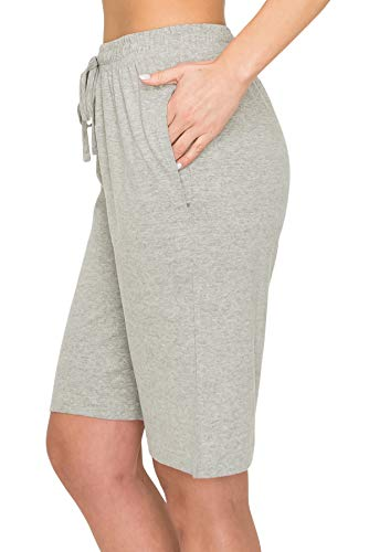 EttelLut Comfy Elastic Lounge Bermuda Womens Cotton Shorts-Drawstring Beach Knit Jersey w Pockets H Gray XL