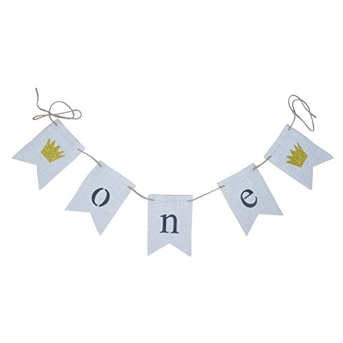 EBTOYS One Banner First Birthday Party Decorations 1st Birthday Burlap Pary Banner Garland for Boy, Girl ,Twins (White) ()