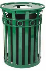 Decorative Steel Trash Receptacle with Flat Top Lid in Green (Ash Urn Lid/Black) Flat Ash Top Receptacle