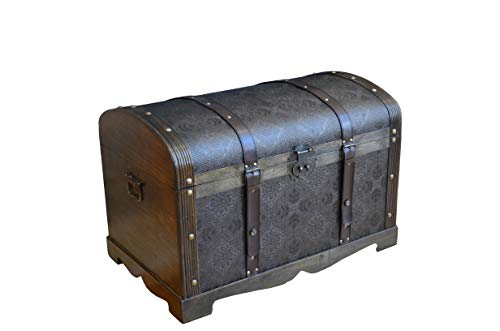 (Styled Shopping Antique Victorian Wood Trunk Wooden Treasure Hope Chest - Medium Size)