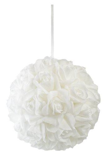 Garden Rose Kissing Ball - White - 10 Inch Pomander Extra Large]()