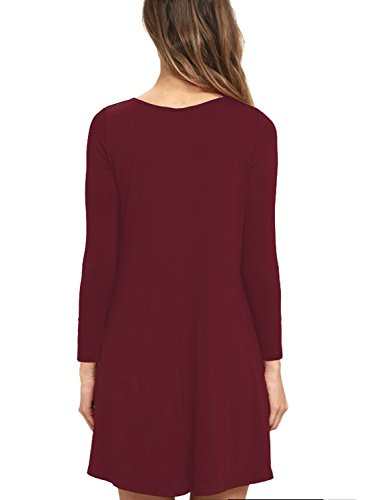 Rouge Vin toto Manches Col Trapze Avec Mode Femmes Lache Tunique Ample V Coton Robe rond longue Poche Casual UTFwqqAx