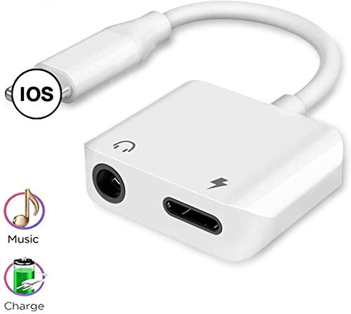 Headphones Adapter for iPhone 7 Adapter Dongle 3.5mm Jack Converter Audio Headphone and Charger for iPhone 11 Pro/7/8Plus/X/Xs/Max/XR Whihge Aux Adapter Music & Charge Splitter Supports All iOS White