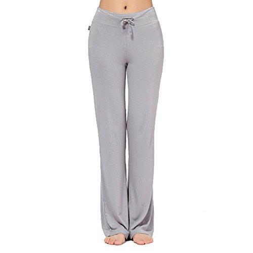coulisse alta donna Lungo morbidi Pantaloni Pantaloni Chiaro Pantaloni Grigio fitness sportivi Moderno elasticizzati casual con Juleya vita wEp7qEY