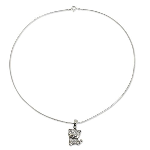 - NOVICA .925 Sterling Silver Cat Pendant Necklace, 18