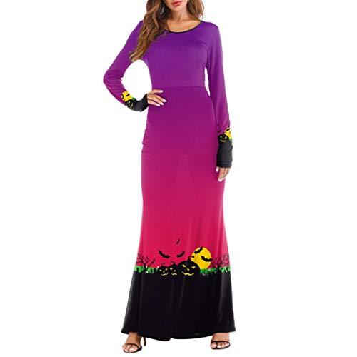 Perman Ladies Halloween Clothing, 3D Terror Pumpkins Printing Long Sleeve Slim Fit Maxi Long Dresses Women Clearance Sale (US 6/CN L,Purple)