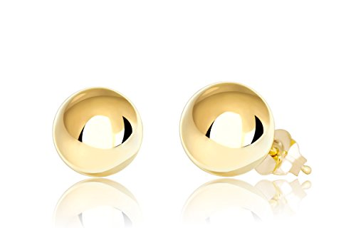 Premium 14K Yellow Gold Ball Stud Earrings (7mm - Yellow Gold) - Gold Ball Yellow Earrings 7mm