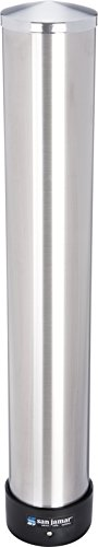 (San Jamar C3200P Stainless Steel Pull Type Beverage Cup Dispenser, Fits 6oz to 10oz Cup Size, 2-7/32