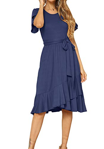 Women's Plain Casual Swing Midi Modest Belt Dress Deep Blue M