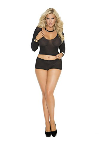 Cami Top Booty Shorts (Zabeanco Sexy Women's Opaque Long Sleeve Cami Top and Booty Shorts Set With Ruched Back (Black, Plus Size))