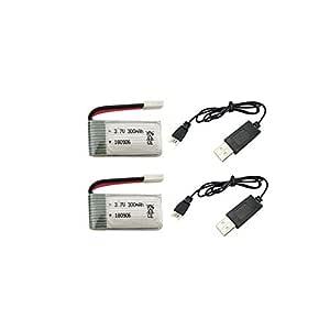 ETbotu - 2 cables de batería de litio de 3,7 V y 300 mAh para H8 ...