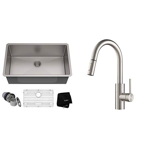 Kraus KHU100-30 Kitchen Sink, 30 Inch, Stainless Steel AND KPF-2620SFS Oletto Kitchen Faucet, 15.75 inch, Spot Free Stainless Steel