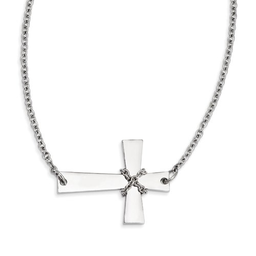 Amazon.com: Acero inoxidable Cruz Horizontal w/collar de ...