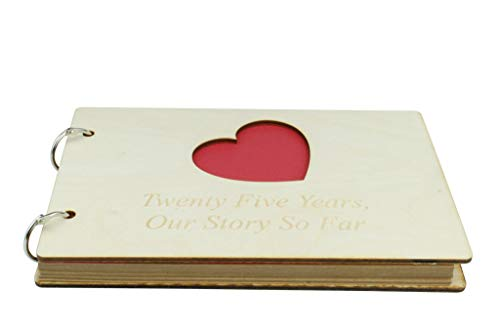 25 Year Anniversary Wooden Scrapbook - Perfect for Your Wife or Girlfriend