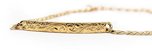 14K Gold Plated Hawaiian Bracelet by Austaras - Shiny Stainless Steel Hawaiian Jewelry with Adjustable Chain and Hawaiian Surfer Style Hibiscus Flower Charm by Hawaiian Jewelry Austaras (Image #1)
