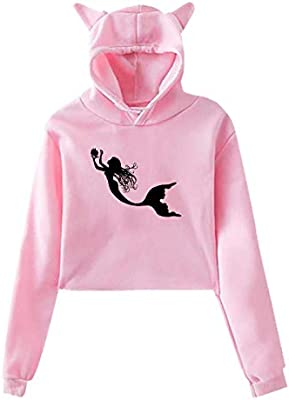 1c717461b A Mermaid with Shells,Hoodie Cat Ear Sweater Exposed Navel Casual Hooded  for Womens Sweatshirt Rabbit Ears: Kitchen & Dining