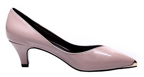 Shoes On WeiPoot Leather Patent Women's Heels Kitten Pumps Pink Pull Solid zrz0w7q