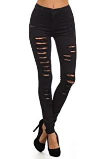 f6c9aa6443dd shelikes Womens High Waist Slim Skinny Ripped Denim Jeans Ladies Trousers 6- 14