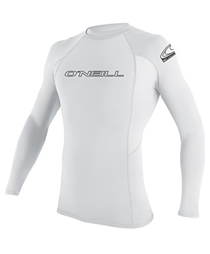 O'Neill Wetsuits UV Sun Protection Mens Basic Skins Long Sleeve Crew Sun Shirt Rash Guard, White, X-Large