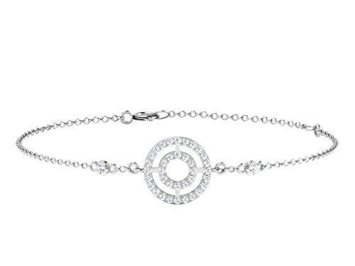 Libertini bracelet argent 925 femme plaque or Jaune serti de Diamant en forme de Rond