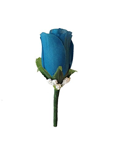 Boutonniere - Deep Turquoise Blue Rose Foam Baby Breath Boutonniere with Pin for Prom, Party, Wedding