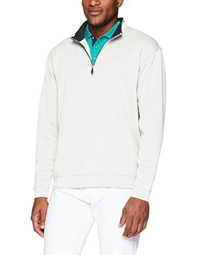 Pearl Sweater Trim (Men's Pebble Beach Golf Long Sleeve 1/4 Zip Pullover with Contrast Trim, Pearl, XX-Large)