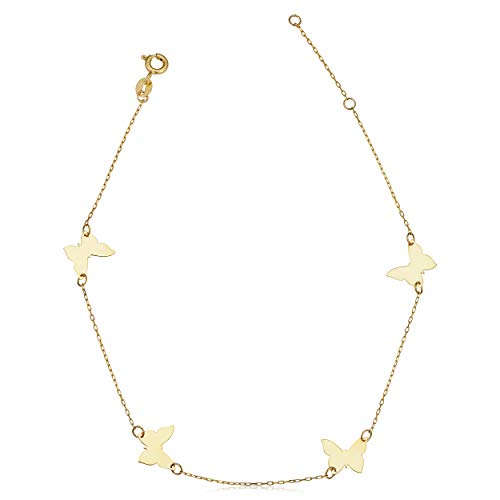 Kooljewelry 14k Yellow Gold Butterfly Station Anklet (adjusts to 9 or 10 inch)